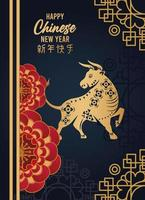 happy chinese new year lettering card with flowers and golden ox in blue background vector