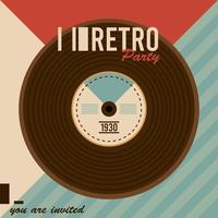 retro party lettering poster with vinyl disc vector