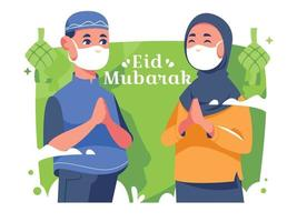 Eid Gathering Using Mask in a Pandemic Situation vector