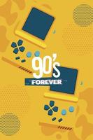 90s forever lettering with video games portables yellow background vector