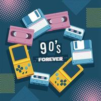 90s forever lettering with set icons around in blue background vector
