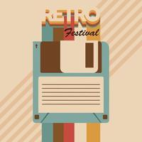 retro festival lettering poster with floppy disc vector