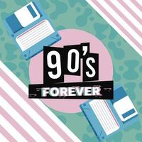 90s forever lettering with floppy disks in abstract background vector