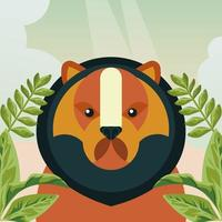 wild bear animal with leafs nature character vector