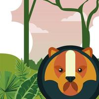 wild bear animal nature character in the landscape vector