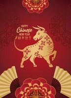 happy chinese new year lettering card with golden ox and fans in red background vector
