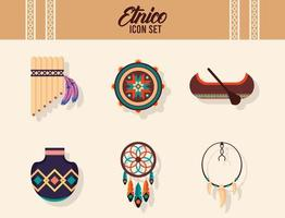 bundle of six ethnic culture boho icons and lettering vector