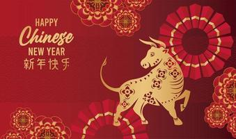 happy chinese new year lettering card with golden ox in red background vector