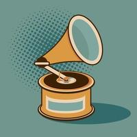 old gramophone vinyl player retro style vector