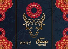happy chinese new year lettering card with golden ox in blue background vector