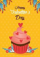 happy valentines day card with cupcake vector
