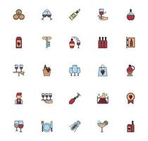 bundle of wine drink set icons vector