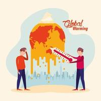 global warming alert with people and melting planet vector