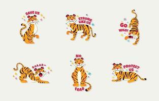guardar y proteger el juego de pegatinas de tigre vector