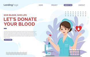 Landing Page Beauty Nurse Donate Blood vector