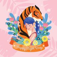 mujeres jóvenes abrazan tigre vector