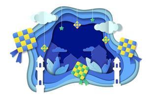 Eid Ketupat Paper Cut Concept vector