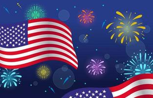 Great Fireworks in the 4th of July vector