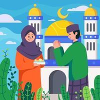 Greetings during Eid Al Fitr vector