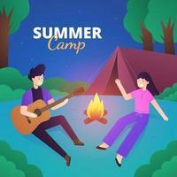 Summer Camp Night Outdoor Couple Activity vector