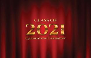clase de 2021 ceremonia de graduación fondo de cortina realista vector