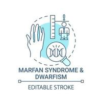 Marfan syndrome and dwarfism blue concept icon vector