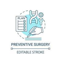 Preventive surgery blue concept icon vector