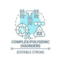 Polygenic disorders blue concept icon vector