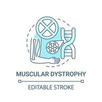 distrofia muscular, concepto, icono, azul vector