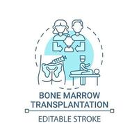 Icono de concepto azul de trasplante de médula ósea vector