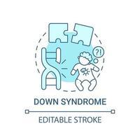 Down syndrome blue concept icon vector