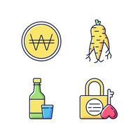 conjunto de iconos de color rgb de corea vector