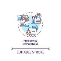 icono de concepto de frecuencia de compra vector