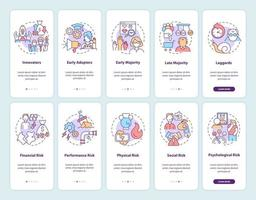 Product adoption onboarding mobile app page screen with concepts set vector