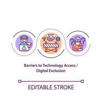 barreras al icono del concepto de acceso a la tecnología vector