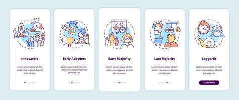 categorías de adoptantes de productos incorporación de la pantalla de la página de la aplicación móvil con conceptos vector
