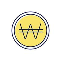 icono de color de won coreano rgb vector