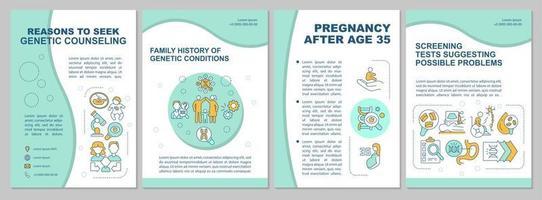 Reasons to seek genetic counseling brochure template vector