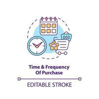 tiempo de compra y icono de concepto de frecuencia vector
