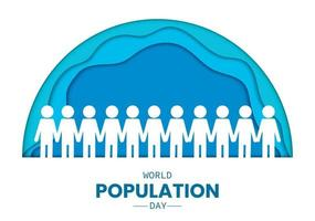 World Population Day People Half Circle Paper vector
