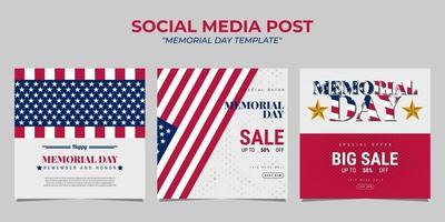 Memorial Day social media post template design vector