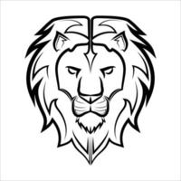 Black and white line art of the front of the lion head It is sign of leo zodiac Good use for symbol mascot icon avatar tattoo T Shirt design logo or any design vector
