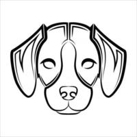 Black and white line art of the front of the beagle dog head Good use for symbol mascot icon avatar tattoo T Shirt design logo or any design vector