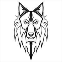 Black and white line art of wolf head Good use for symbol mascot icon avatar tattoo T Shirt design logo or any design you want vector