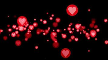 Looping romantic flying pink red circle hearts flowing video