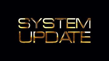 Actualización del sistema de animación de bucle de banner de texto dorado aislado video