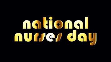 dia nacional das enfermeiras banner de texto dourado laço isolado video