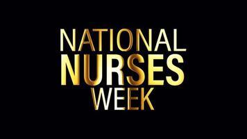 laço de banner de texto dourado da semana nacional de enfermeiras isolado video
