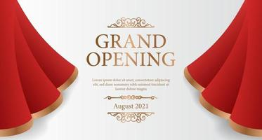 Elegant luxury grand opening poster banner with red silk curtain wave open illustration with white background and golden text vector