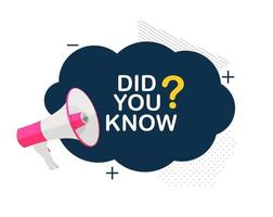 Did you know interesting fact label sticker vector